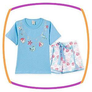 Pijama infantil Short doll em malha penteada estampa conchas