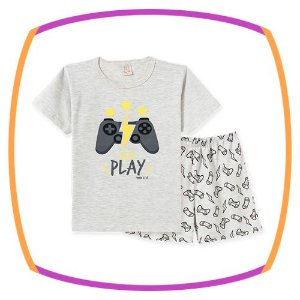 Pijama infantil em malha penteada estampa GAME