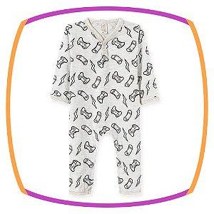Pijama para bebê em macacão com malha penteada manga longa estampa GAME
