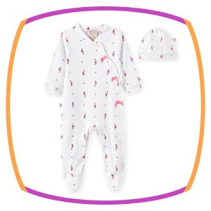 Macacão para bebê em suedine manga longa com touca estampa flamingo