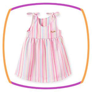 Vestido para bebê em poliester e elastano listrado
