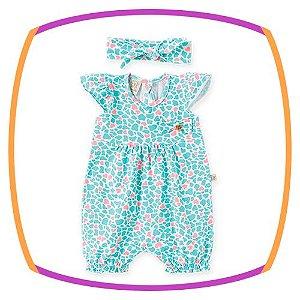 Macacão Curto para bebê em cotton estampado com faixa de cabelo