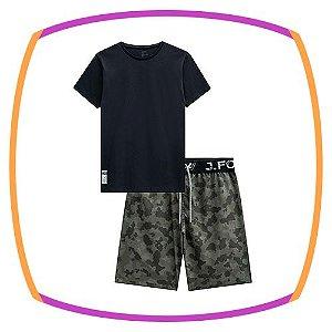 Conjunto infantil Camiseta em meia malha na cor preta e Bermuda em Nylon com elastano estonada