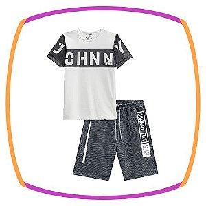 Conjunto infanitl Camiseta Long em meia malha com detalhes em tela na cor branca e bermuda em moleton Melbourne chumbo