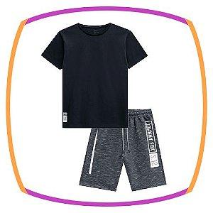Conjunto infantil Camiseta em meia malha na cor preta e Bermuda em moleton cinza escuro