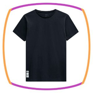 Camiseta infantil em meia malha na cor preta