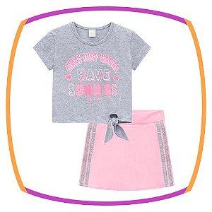 Conjunto infantil blusa boxy  estampa e shorts saia em moleton
