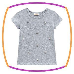 Camiseta infantil em malha com aplique de pedras na cor cinza