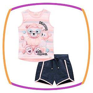 Conjunto infantil regata  estampa urso  e shorts em molecotton