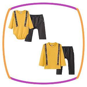 Conjunto para bebe Body em suedine  estampa SUSPENSÓRIO e calça em cotton jeans