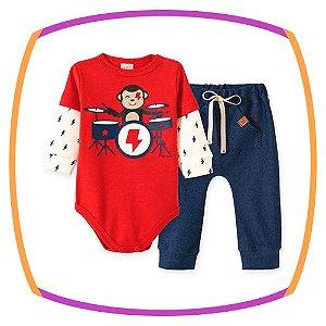 Conjunto para bebe Body  em suedine  estampa BATERIA e calça em cotton jeans