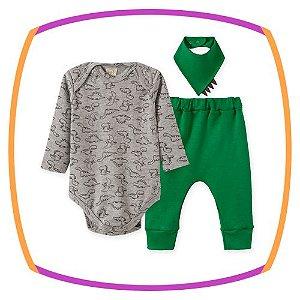 Conjunto para bebe Body em suedine estampa DINOSSAURO, calça em suedine e Bandana