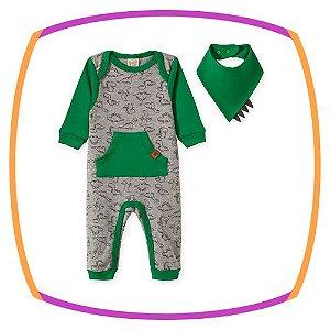 Macacão para bebê em suedine manga longa estampa DINOSSAURO e bandana