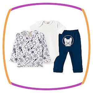 Conjunto para bebe Body  em suedine, calça em suedine com bordado SPACE DOG e casaco estampa espaço