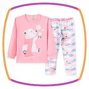 Pijama infantil estampa URSO e calça estampa nuvens