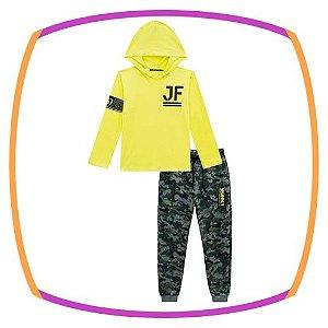 Conjunto infantil Camiseta com gorro  e calça jogger em moleton Camuflado