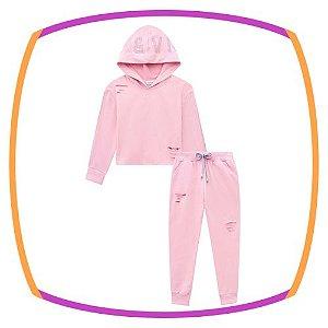 Conjunto infantil Moleton Blusão BOXY e Jogger Rasgo (sem pelucia) na cor Rosa