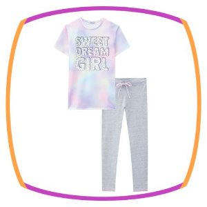 Pijama infantil blusa em tie die Sweet Dream Girl e legging