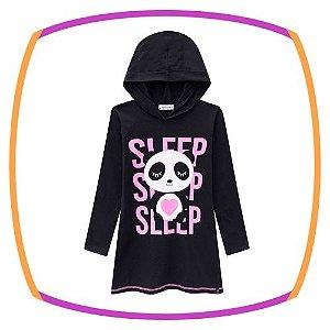 Camisola infantil em meia malha estampa Panda com gorro