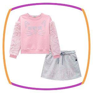 Conjunto infantil Blusão em Pelo e moletom Estampa Gato e shorts saia em moleton