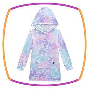 Vestido infantil em molecotton estampado em tie dye