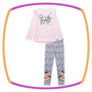 Conjunto infantil Blusa em Cotton e tule rosa e legging em fly tech estampa urso