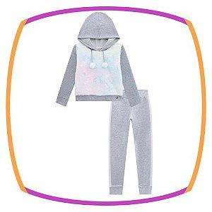 Conjunto infantil blusão em molecotton e pelo neon e calça em molecotton