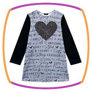 Vestido infantil em Fly Tech na cor cinza estampa coração