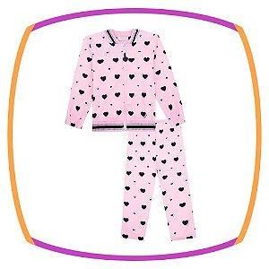 Conjunto para bebê de jaqueta e legging estampa Coração