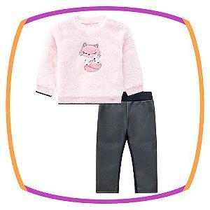 Conjunto para bebê blusão em pelo estampa Raposa e calça legging em couro eco e molecotton