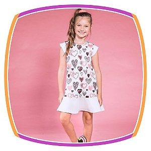 Vestido infantil estampa corações