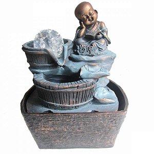 Fonte de Água Buda Lendo Livro em Resina (18cm)