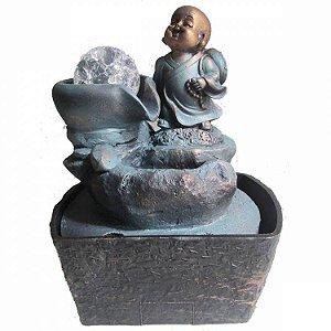 Fonte de Água Buda Sorrindo em Resina (18cm)