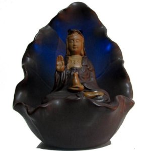 Incensário Kuan Yin com LED (12cm) + 5 Incensos Cones