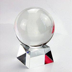 Bola de Cristal Transparente com Base em Cristal (10 cm)