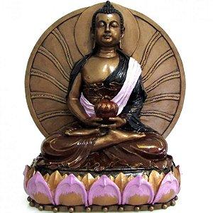 Estátua Buda Meditando na Flor de Lótus Grande (25cm)