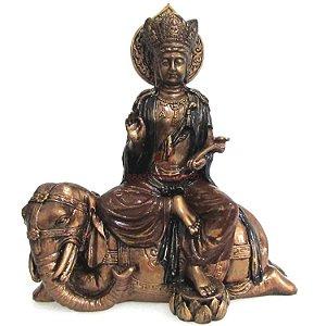 Buda Samantabhadra com Elefante em Resina (22cm)