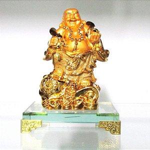 Buda da Prosperidade com Base de Vidro (Dourado)