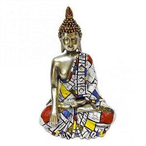 Buda Tailandês Branco e Vermelho (22cm)