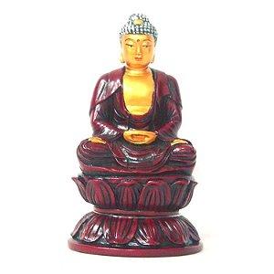 Buda Sakyamuni Vermelho em Resina (13cm)