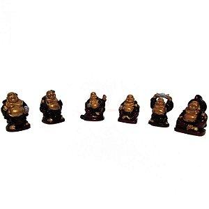 Conjunto com 6 Budas em Pé em Resina (3cm)