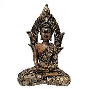 Buda com Portal Dourado (18cm)