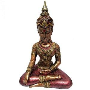 Buda Tailandês Sentado Ouro Velho (38cm)