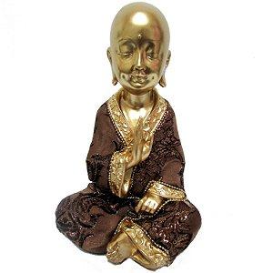 Monge Dourado em Resina (19cm)