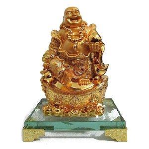 Buda Dourado com Base de Vidro (19cm)