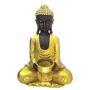 Buda Tibetano Porta Vela Dourado com Glitter (26cm)