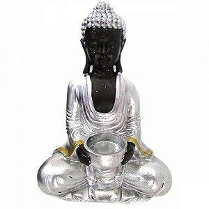 Buda Tibetano Porta Vela Prata com Glitter (26cm)