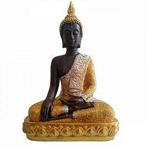 Buda Tibetano Dourado com Glitter (39cm)