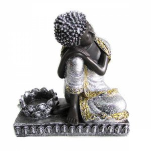 Buda Prata com Glitter com Porta Vela (17cm)