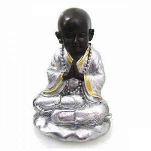 Buda Sentado Prata com Glitter (25cm)